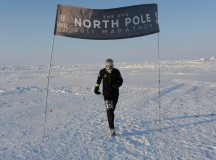 Canadian Glenn Harkness crosses the finish line of the 2011 North Pole Marathon. He finished 11th out of 27 competitors.