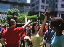 Toronto Flash Mob Hugging, High-Fiving