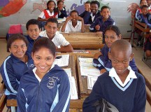School Children at Imperial Primary School in Eastridge, Mitchell's Plain (Cape Town, South Africa). Image: Henry Trotter, 2006.