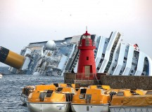 The Costa Concordia floats in the Tyrrhenian Sea Isola del Giglio, near the western coast of Italy. Image: Rvongher