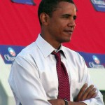 Barack Obama waiting to give a speech in Washington D.C. in 2007