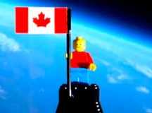 Two Canadian high school students, Mathew Ho and Asad Muhammad, send a Legonaut into space. Image: screen capture from their time-lapsed YouTube video.