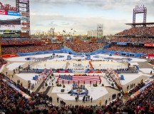 The 2012 NHL Winter Classic was played at Citizens Bank Park. Final score: New York Rangers 3, Philadelphia Flyers 2; Attendance 46,967. Image: Centpacrr.