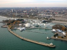 An aerial photograph of Ontario Place, including the Cinesphere and the marina. Image: lDuke.