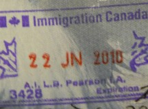 A photograph of a Canadian immigration stamp, dated June 22, 2010. Image: Vampireshark