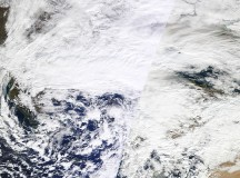 Satellite image of the January 26 2012 Southeast Europe snowstorm that brought over 100 cm of snow to some places. Image: NASA