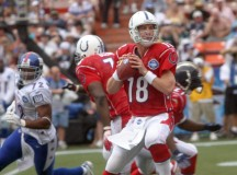 Peyton Manning playing for the Indianapolis Colts at the 2006 Pro Bowl in Hawaii. Image: Cpl. Michelle M. Dickson.
