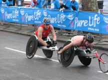 Josh Cassidy and David Weir racing in the 2010 London Marathon. Image: Snappa2006