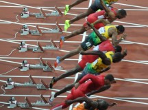 Usain Bolt takes off during the 100m at the 2012 Olympics in London. Image: Darren Wilkinson