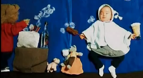 Mami Koide's sleeping infant art; Image: YouTube video