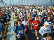 Runners during the New York marathon on Verrazano bridge, 2005. Image: Martineric