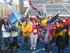 "Fans converged on Varsity Stadium for the ""fan march."" Image by Joyce Grant."