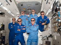 Expedition 34 crew members pose for a photograph in the Kibo laboratory of the International Space Station. Pictured on the front row are NASA astronaut Kevin Ford (right), commander; and Canadian Space Agency astronaut Chris Hadfield, flight engineer. Pictured on the back row (from the left) are NASA astronaut Tom Marshburn, Russian cosmonauts Oleg Novitskiy, Evgeny Tarelkin and Roman Romanenko, all flight engineers. Image: NASA.