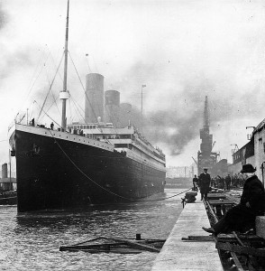 The original Titanic at the docks of Southampton in 1912.