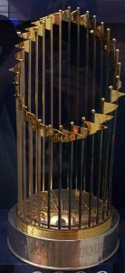 The World Series Trophy goes to the winner of the best-of-seven World Series. Image via Wikimedia Commons; Matthew Sheppard.