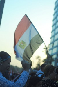 Egyptian flag at the Anti-Morsi protests in the summer of 2013. Image: Lilian Wagdy