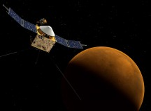 An artist's rendering of the MAVEN orbiting Mars. Image: NASA/Goddard Space Flight Center