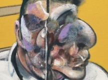 This image shows part of the painting on the left panel of the triptych by Francis Bacon.