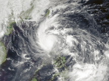 The Philippines experiences many typhoons. This is an image of Typhoon Nalgae over The Philippines in 2011. Image: NRL Monterey Marine Meteorology Division