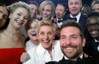 Actor Bradley Cooper snapped this selfie using Ellen DeGeneres's smart phone.
