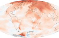 The map shows how much warmer temperatures were in 2000-2009 compared to average temperatures recorded between 1951 and 1980. The most extreme warming, shown in red, was in the Arctic. Image: NASA