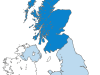 Scotland lies to the north of the UK and is shown here in dark blue. Image: Peeperman