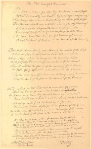 The lyrics of the Star Spangled Banner, as written by Francis Scott Key, in an 1840 copy. Source: http://www.loc.gov/exhibits/treasures/trm065.html