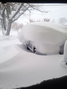 A car in Buffalo is snowed under. Photo: Kerry Chella.
