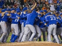 The Toronto Blue Jays celebrate winning a hard fought game. Image: Keith Allison