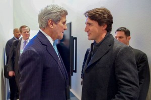 Justin Trudeau speaks with United States Secretary of State, John Kerry. U.S Department of State