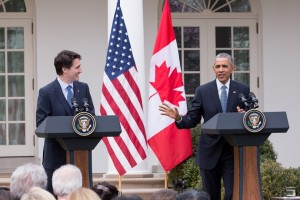 Prime Minister Trudeau and President Obama hold a joint press conference in the Rose Garden at the White House. Image: Adam Scotti.