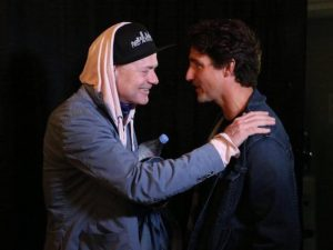 Canadian Prime Minister Justin Trudeau and Gordon Downie shared a moment before the Kingston concert. Photo: Trudeau's Facebook page.