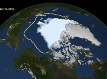 The decrease in sea ice in the Arctic is seen in this image, which compares 2012 sea ice levels with the yellow outline, which shows the average sea ice level from 1979 through 2010. Image: NASA