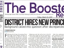 Pittsburg High School's newspaper featuring the article about the principal.