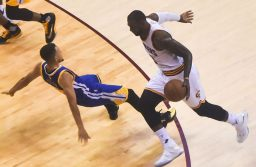 Steph Curry (left) and LeBron James during game 6 of the 2016 NBA Finals between Golden State Warriors and Cleveland Cavaliers. Image: Erik Drost