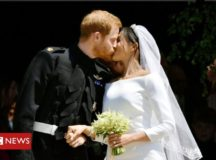 First kiss as Duke and Duchess of Sussex; photo from BBC Twitter feed.
