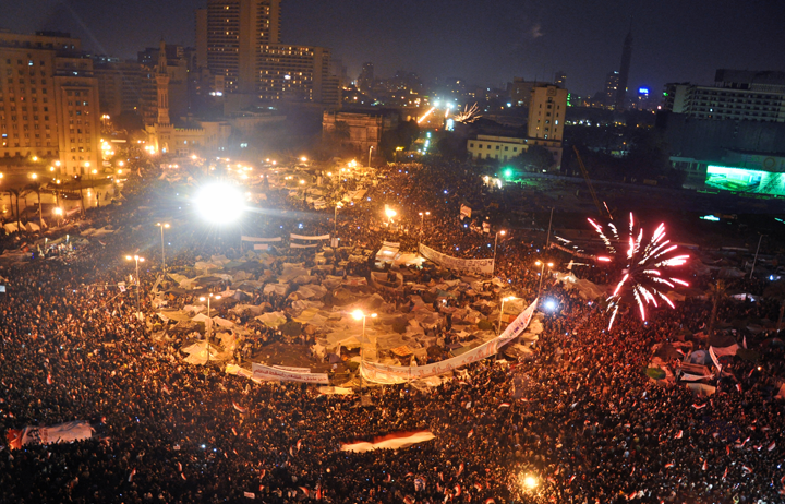 Celebrations in Tahrir Square  Image: Jonathan Rashad