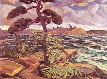 """Arthur Lismer's """"A September Gale."""" This painting was purchased by the National Gallery of Canada in 1926. Many people thought it was terrible because the style was so different from what art looked like in Canada at that time which showed outdoor scenes more like a photograph than an artist's view."""