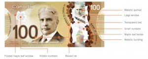 Security features of Canada's new polymer $100 note; image published here with permission from the Bank of Canada.