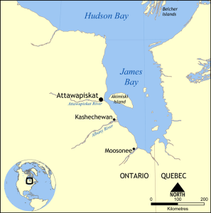 Map showing Attawapiskat, Ontario