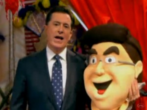 Colbert with his Mascot Twin