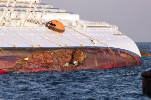 Detail of Costa Concordia's Hull