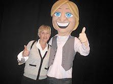 Ellen DeGeneres and her Mascot
