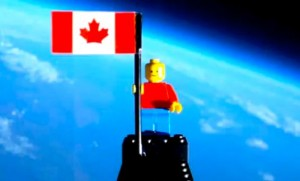 Two students launch a legonaut into space.