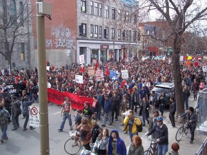 Protesters in Quebec in April.