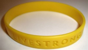 Livestrong writstband, which was sold to raise money for cancer research. Image: Sherool.