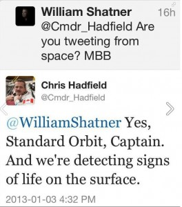 Hadfield Shatner tweet