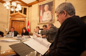 Harper is seen here meeting with ministers and senior staff. Image: Stephen Harper Official Twitter Account