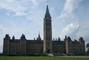 The centre block of the Parliament buildings in Ottawa where the senators pass laws. Image: Johnycanal