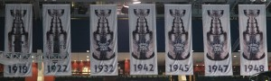 Stanley Cup banners that hang in the Air Canada Center. Image: Horge